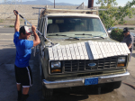 J.P. Engine guys give the van a wash