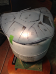 Using Green Destiny, I traced and cut a template in thick sheet plastic. This is what happens when you put a flat template on a domed surface. You spend some time fudging and finagling to get it aligned with the center of the tank, then tweak some more to ...